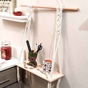 Handmade Wall Art - 100% Cotton Macrame Bohemian Hanging Shelf